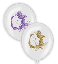 Parti - Unicorn Temalı Şeffaf Renk Baskılı Balon 6 Adet