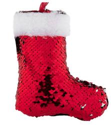 Parti - Yanar Döner Payetli Kırmızı Noel Ayakkabısı Ağaç Süsü