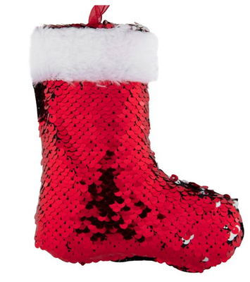 Yanar Döner Payetli Kırmızı Noel Ayakkabısı Ağaç Süsü