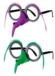 Parti Dünyası - Yeşil veya Mor Tüylü Cadı Burnu ve Gözlüğü