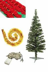 Parti Dünyası - Yılbaşı Çam Ağacı Altın Renk Süs Seti ve Işık İle