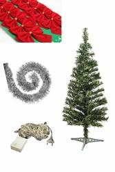 Parti Dünyası - Yılbaşı Çam Ağacı Gümüş Renk Süs Seti ve Işık İle