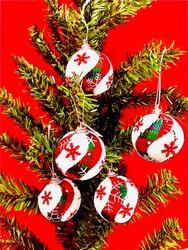 Parti Dünyası - Yılbaşı Çam Ağacı Kar Taneli Top Süs 6 Adet 5 cm