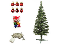 Parti Dünyası - Yılbaşı Çam Ağacı KARIŞIK Renk Süs Seti ve Işık İle