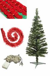 Parti Dünyası - Yılbaşı Çam Ağacı Kırmızı Renk Süs Seti ve Işık İle