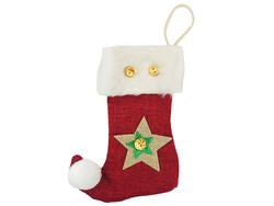 Parti Dünyası - Yıldızlı Noel Çorabı Bordo Renk 12 x 16 cm