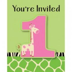 Parti Dünyası - Zürafalı 1 Yaş Kız 8 li Davetiye