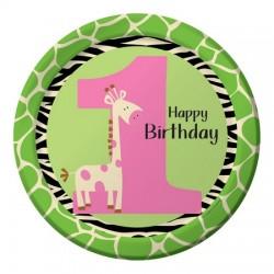 Parti Dünyası - Zürafalı 1 Yaş Kız 8 li Tabak