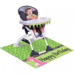 Parti Dünyası - Zürafalı 1 Yaş Kız Mama Sandalyesi Süsleme Kiti
